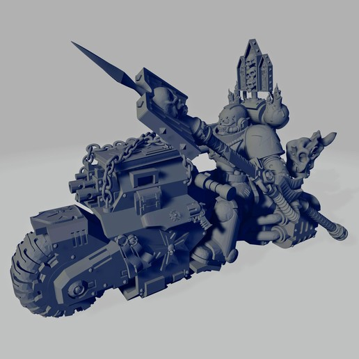 Dark Crusader Angry Priest of Death on Ride Out Bike - Long Weapon 01~2.jpg Download free STL file Dark Crusader Angry Priests of Death on Ride Out Bike • 3D printing object, GrimmTheMaker
