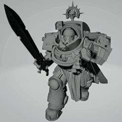Dark Crusader Commander in Heavy Armour 1~3.png Download free STL file Dark Crusader Marshall in Heavy Armour • 3D print design, GrimmTheMaker