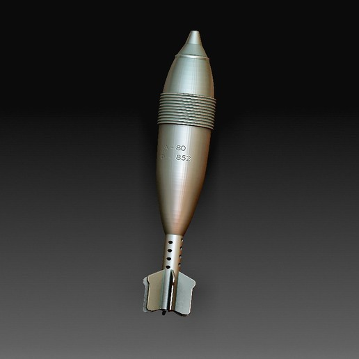 120 mm.jpg Download OBJ file Mortar projectile • Template to 3D print, tex123
