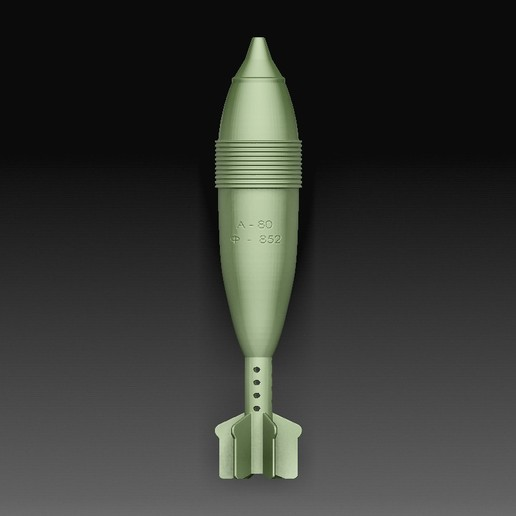 Mortar projectile.jpg Download OBJ file Mortar projectile • Template to 3D print, tex123