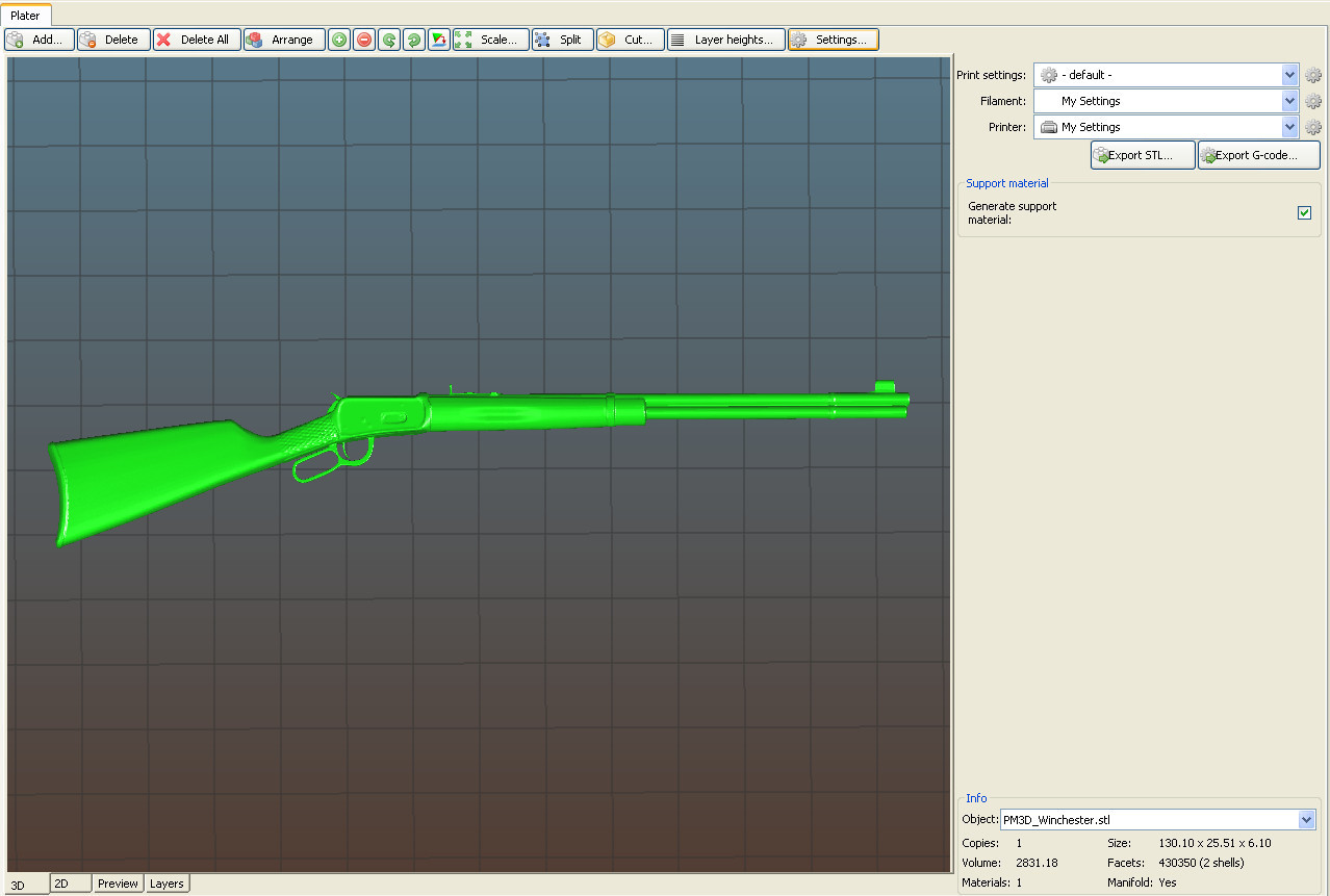 3D printable model.jpg Download OBJ file Winchester  • Model to 3D print, tex123