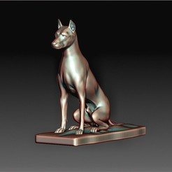 Dog Doberman.jpg Download OBJ file Dog Doberman statue • 3D printer object, tex123