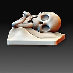 Skull and snake.jpg Download OBJ file Skull and snake • Model to 3D print, tex123