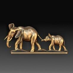 Elephant family 2.jpg Télécharger fichier OBJ La famille des éléphants • Design pour imprimante 3D, tex123