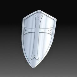 Templar shield.jpg Download OBJ file Templar shield • 3D print template, tex123