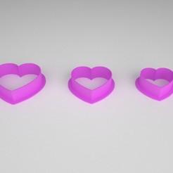cookie cutter_corazon_x 3.jpg Download STL file Cookie Cutter - Cookie Cutter - Heart x 3 sizes • 3D printable template, PC_3D