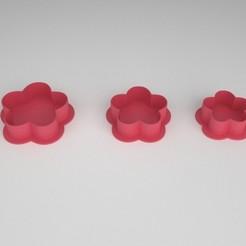 cookie cutter_flor_x 3a.jpg Télécharger fichier STL Coupe-biscuit - Coupe-biscuit - Fleur x 3 tailles • Plan pour imprimante 3D, PC_3D