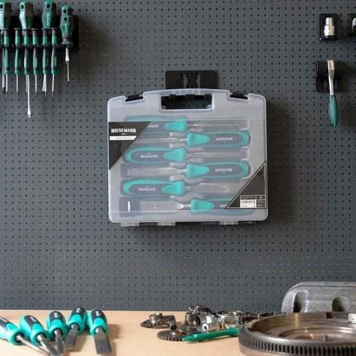 068_1.jpg Download free STL file Wall Holder Chisel Set Tool Box 068 I for screws or peg board • 3D printable model, Wiesemann1893