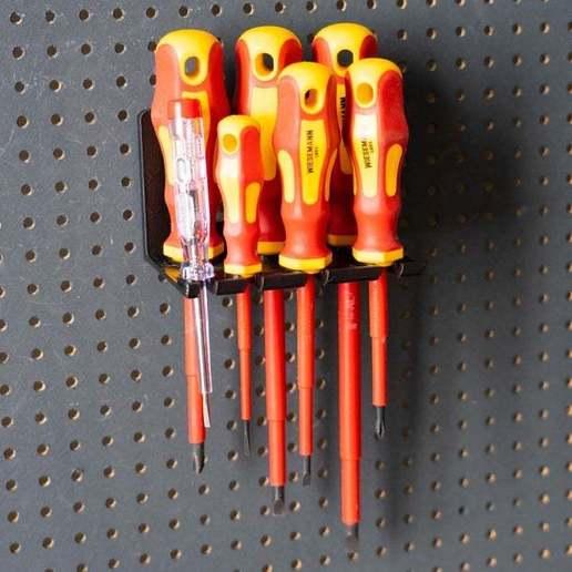 012.jpg Download free STL file Holder for Electrician Screwdriver Set 7pcs 012 I for screws or peg board • 3D print model, Wiesemann1893