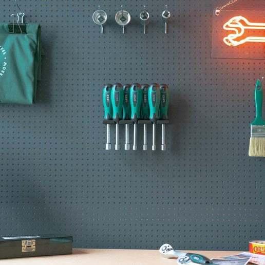 013_Foto.jpg Download free STL file Socket Wrench Screwdriver Set 7pcs Tool Holder 013 I for screws or peg board • Design to 3D print, Wiesemann1893