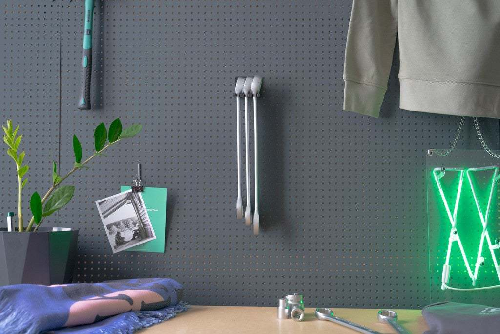 016_Foto_3.jpg Download free STL file XXL Combination Spanner Set 26pcs metric 6-32 mm Wall Holder 016 I for screws or peg board • 3D printable model, Wiesemann1893
