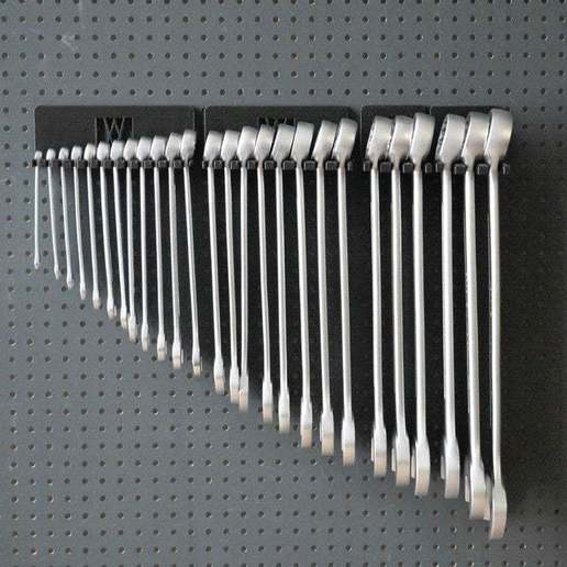 016_Foto_11.jpg Download free STL file XXL Combination Spanner Set 26pcs metric 6-32 mm Wall Holder 016 I for screws or peg board • 3D printable model, Wiesemann1893