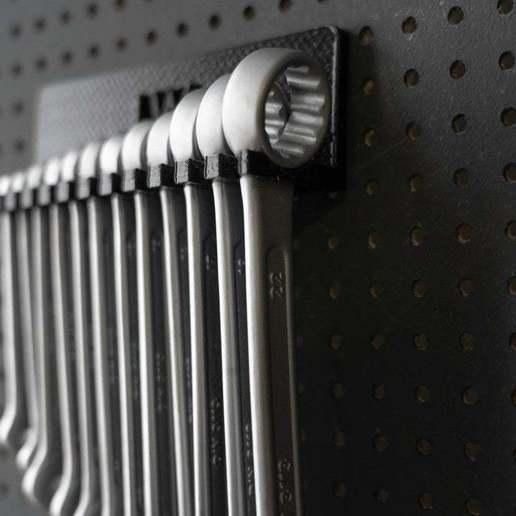 056_Foto_5.jpg Download free STL file Combination Spanner Set 12pcs metric 6-22mm Wall Holder 056 I for screws or peg board • 3D print design, Wiesemann1893