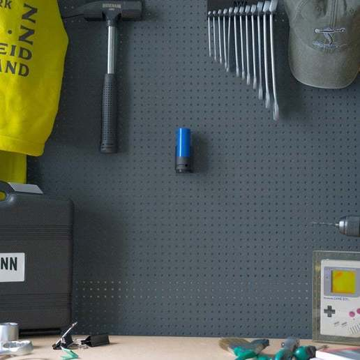 044_Foto_7.jpg Download free STL file Universal Wall Holder for 1/2 inch sockets 044 I for screws or peg board • 3D printer design, Wiesemann1893