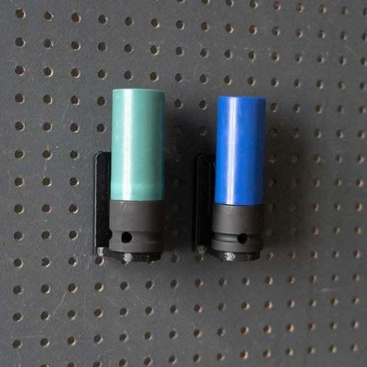 044_Foto_15.jpg Download free STL file Universal Wall Holder for 1/2 inch sockets 044 I for screws or peg board • 3D printer design, Wiesemann1893