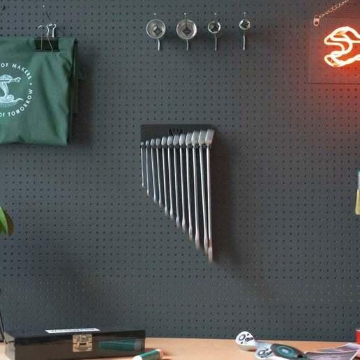 056_Foto_1.jpg Download free STL file Combination Spanner Set 12pcs metric 6-22mm Wall Holder 056 I for screws or peg board • 3D print design, Wiesemann1893
