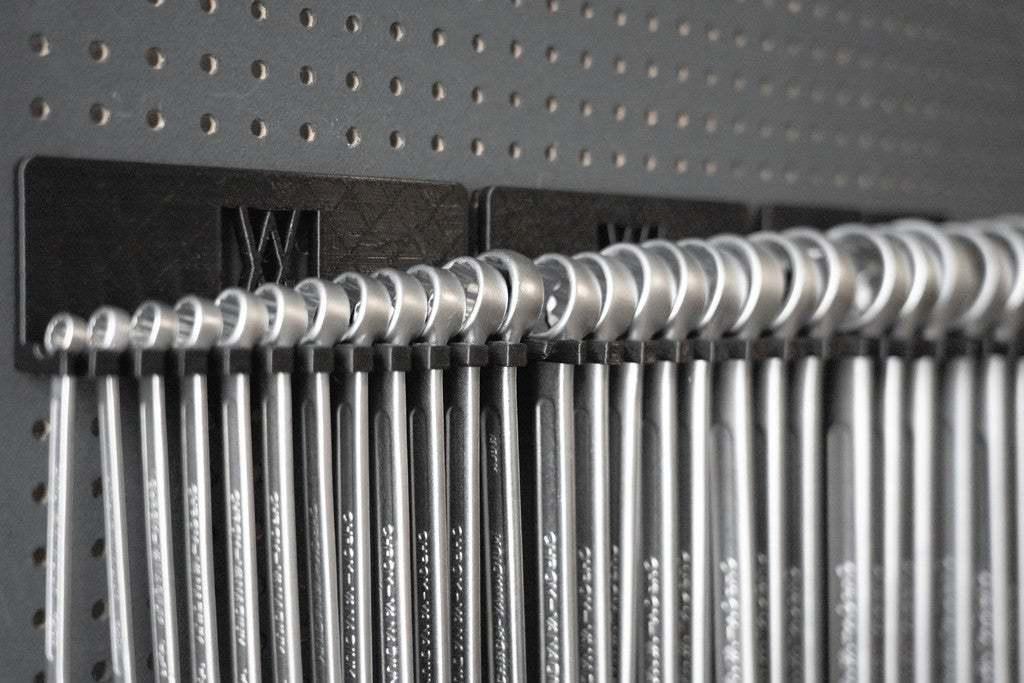 016_Foto_12.jpg Download free STL file XXL Combination Spanner Set 26pcs metric 6-32 mm Wall Holder 016 I for screws or peg board • 3D printable model, Wiesemann1893