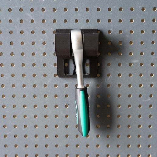 046_1.jpg Download free STL file Small Ratchet (1/4 Inch) Holder 046 I for screws or peg board • 3D printer template, Wiesemann1893