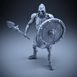Download free 3D printing files Skeleton - Heavy Infantry - Spear + Round Shield - Idle Pose, DungeonWardenMiniatures
