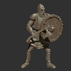 Download free 3D printing models Skeleton - Heavy Infantry - Axe + Round Shield - Defensive Pose, DungeonWardenMiniatures