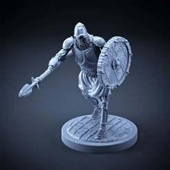Descargar modelo 3D gratis Esqueleto - Infantería Pesada - Lanza + Escudo Redondo - Pose de ataque, DungeonWardenMiniatures