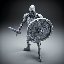 Download free 3D printer files Skeleton - Heavy Infantry - Sword + Round Shield - Idle Pose, DungeonWardenMiniatures