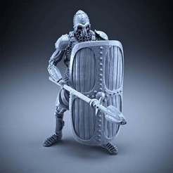 Download free 3D printing files Skeleton - Heavy Infantry - Spear + Square Shield - Defensive Pose, DungeonWardenMiniatures