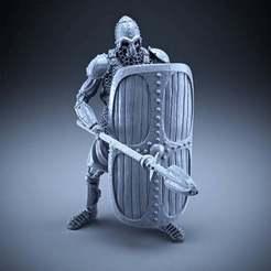 Télécharger fichier imprimante 3D gratuit Squelette - Infanterie lourde - Lance + Bouclier carré - Pose défensive, DungeonWardenMiniatures