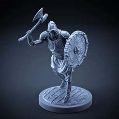 Download free 3D printer designs Skeleton - Heavy Infantry - Axe + Round Shield - Attack Pose, DungeonWardenMiniatures