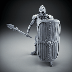 Download free STL file Skeleton - Heavy Infantry - Spear + Square Shield - Idle Pose, DungeonWardenMiniatures