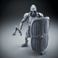Download free 3D printing models Skeleton - Heavy Infantry - Axe + Square Shield - Idle Pose, DungeonWardenMiniatures
