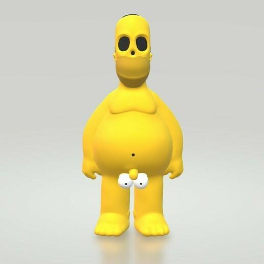HomerCults1.jpg Download STL file Homer Naked The Simpsons  • 3D printing design, HTBROS