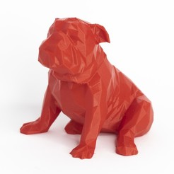 perro3.jpg Download STL file Lowpoly dog bulldog • 3D printer model, daesco