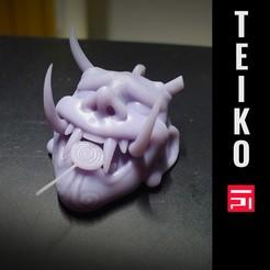 presentacion mascara.jpg Télécharger fichier STL porte-clés démon samouraï • Plan pour imprimante 3D, Teiko