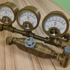 IMG_20201010_184616.jpg Download STL file Steampunk Voltmeter Clock • 3D print template, pgman