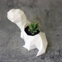 Télécharger plan imprimante 3D Cactus Pot Planter Dinosaur T-rex Tyrannosaurus Rex low poly, Prigle