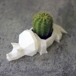 Télécharger fichier impression 3D Cactus Pot Planter Dinosaur Triceratops Low poly, Prigle