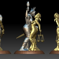 Download 3D printing designs Ladies Liberty and Justice Kiss, eroticdream3d