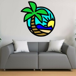 Mockup-Recovered-Recovered.jpg Download STL file Beach Wall art • 3D printable object, khmusicman