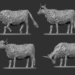 Highland Cow Thumbnail 1.png Download free STL file Highland Cattle for Tabletop Wargaming • 3D printer template, Swagius_Maximus