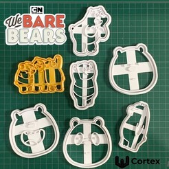 bare bears.jpg Download STL file We bare bears cookie cutters • 3D printable model, efrainmsolano