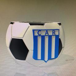 club mate  racing.jpg Download free STL file mate pelota de futbol con logo de racing de cordoba • 3D printing model, IMPRESION3DCORDOBAA