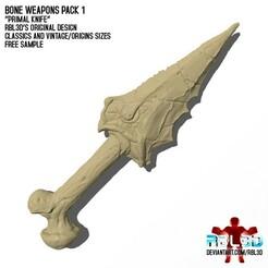 """RBL3D_bone_weapons_knife1.jpg Télécharger fichier OBJ gratuit Armes à os Pack 1 """"Primal Knife"""" échantillon gratuit • Plan à imprimer en 3D, RBL3D"""