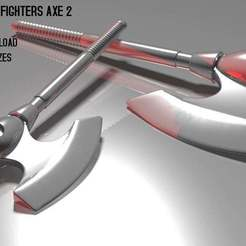 sewco_sword2_render.jpg Download free OBJ file Galaxy Warriors / Fighters Axe 2 • 3D printing model, RBL3D