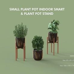 Télécharger objet 3D Petit pot pour plantes d'intérieur Smart et support de pot pour plantes, helloiamjee