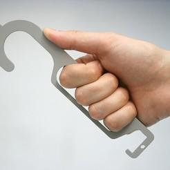 crochet_1726.jpg Télécharger fichier OBJ gratuit HYGIE-HAND / Poignée Stop COVID • Design imprimable en 3D, Hygie