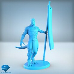 Visual_LizardmenFlagBearer_0111.jpg Download STL file Lizardmen - Flag Bearer • 3D printer design, BLUEWYVERN