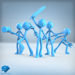 Visual_StickFigures_01.png Download STL file Stick Figure Adventurers Pack • 3D print template, BLUEWYVERN