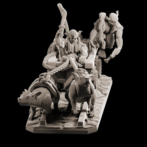 Download 3D print files Goblin mine cart riders with rat mounts, MysticPigeonGaming