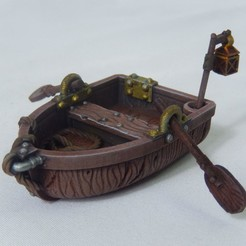 Download 3D printer model Row Boat Miniature with oars and pole lantern, MysticPigeonGaming